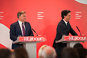 London, UK. Wednesday 29th April 2015. Labour Party Leader Ed Miliband, Shadow Chancellor Ed Balls at a General Election 2015 campaign event on the Tory threat to family finances, entitled: The Tories' Secret Plan. Held at the Royal Institute of British Architects.
