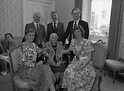 Centenarians At The Mansion House.  (R80)..1988..02.06.1988..06.02.1988..2nd June 1988..Today at the Mansion House in Dublin, The Lord Mayor, Ms Carmencita Hederman, held a function for centenarians and their families. Unfortunately we have mislaid the caption sheet, if you know any of the people pictured, why not let us know at irishphotoarchive@gmail.com and we will add the names.