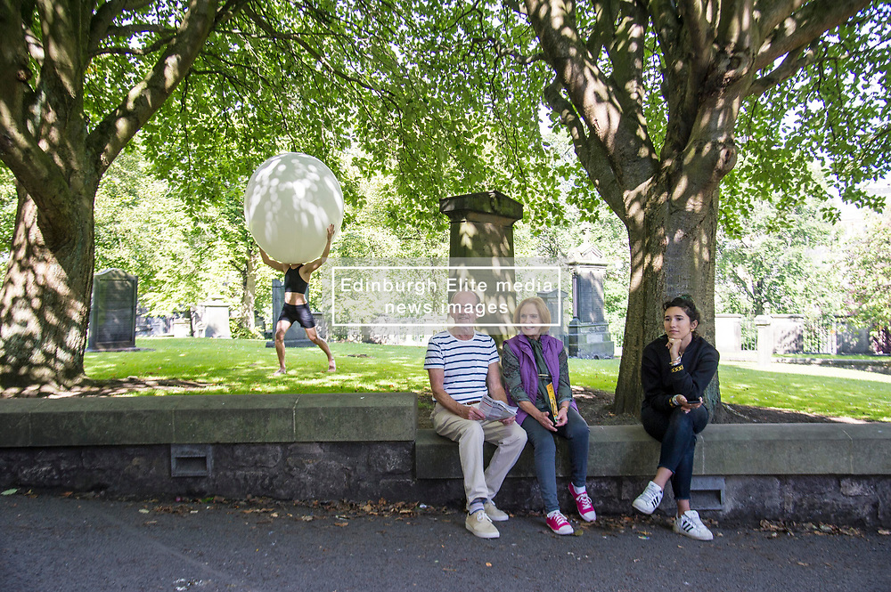 Pictured: <br /> <br /> The cast of Staging Wittgenstein. Annie Hagg (blonde) , Roxanna Kadyrova (dark hair) and Nikita Lebedev were enjoying the sunshine as they prepared for their run in the Edinburgh Festival at Venue 34, Adams House, Chambers Street in Edinburgh.  The US/Russian production will be in Edinburgh until 28 August. <br /> <br /> Ger Harley   EEm 9 August 2017