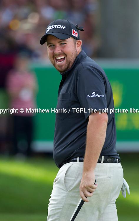 Shane LOWREY (IRE) celebrates birdie putt at 18th par 5 during fourth round BMW PGA Championship 2014,Wentworth West,Wentworth,Virginia Water,Surrey,England.