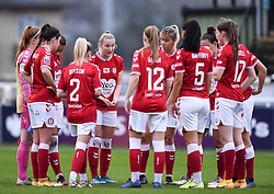 Jemma Purfield of Bristol City Women talks to the Bristol City Women team during a huddle prior to kick off - Mandatory by-line: Ryan Hiscott/JMP - 13/12/2020 - FOOTBALL - Twerton Park - Bath, England - Bristol City Women v West Ham United Women - Barclays FA Women's Super League