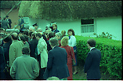 Raisa Gorbachev at Bunratty Folk Park.  (R99)..1989..02.04.1989..04.02.1989..2nd April 1989..While her husband, Russian President Mikhail Gorbachev,was working on state matters ,Mrs Gorbachev was taken on a tour of Bunratty Folk Park in Co Clare. The Gorbachevs were in Ireland as part of a tour of European Capitals...Image shows the media scrum as Mrs Gorbachev begins her tour of the Folk Park.