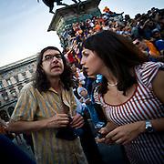 Gabriele Paolini in piazza Duomo a Milano durante i festeggiamenti della vittoria di Giuliano Pisapia...Gabriele Paolini in Dome square during the celebration of Piaspia fans.