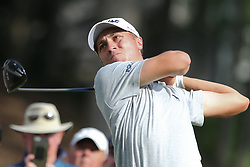 June 21, 2018 - Cromwell, Connecticut, United States - CROMWELL, CT-JUNE 21: Justin Thomas tees off the 18th hole during the first round of the Travelers Championship on June 21, 2018 at TPC River Highlands in Cromwell, Connecticut. (Credit Image: © Debby Wong via ZUMA Wire)
