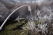 Snow and frost-laden Hot Springs in winter, Midway, Utah. USA.
