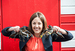 Scottish Labour leader Kezia Dugdale visited a lobster hatchery in East Lothian as part of Scottish Labour's push to win the seat. She met 2 lobsters with yellow and blue bands to highlight the 2 danger of a tory and SNP pincer movement at the general election on June 8th.<br /> <br /> © Dave Johnston/ EEm