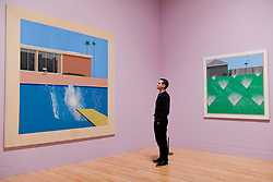 """© Licensed to London News Pictures. 06/02/2017. London, UK. A staff member views (L) """"A Bigger Splash"""" and (R) """"A Lawn Being Sprinkled"""" at the preview of the world's most extensive retrospective of the work of David Hockney at the Tate Britain, which will be on display 9 February to 29 May 2017. Photo credit : Stephen Chung/LNP"""