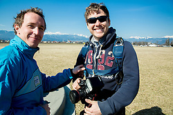 World ParaSki Champion Matej Becan of Slovenia parachuting team and photographer Vid Ponikvar during practice session, on March 10, 2015 in Airport Lesce, Slovenia. Photo by Vid Ponikvar / Sportida