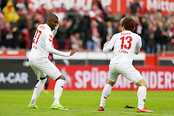 COLOGNE, March 19, 2017  Anthony Modeste (L) and Yuya Osako of 1. FC Koeln celebrate after scoring during the Bundesliga match between 1. FC Koeln and Hertha BSC in Cologne, Germany, on March 18, 2017. The team of 1. FC Koeln won 4-2. (Credit Image: © Ulrich Hufnagel/Xinhua via ZUMA Wire)