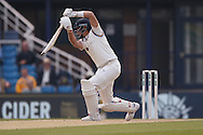 Square drive from Yorkshire Batsman Joe Root  during the Specsavers County Champ Div 1 match between Yorkshire County Cricket Club and Surrey County Cricket Club at Headingley Stadium, Headingley, United Kingdom on 10 May 2016. Photo by Simon Davies.