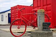 Iceland, Reykjavik, Street art in the harbour