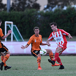 BRISBANE, AUSTRALIA - FEBRUARY 25: Matthew Heath of Olympic FC and Aaron Reardon of Brisbane Roar in action during the NPL Queensland Senior Men's Round 1 match between Olympic FC and Brisbane Roar Youth at Goodwin Park on February 25, 2017 in Brisbane, Australia. (Photo by Patrick Kearney/Olympic FC)