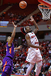 29 December 2016: Paris Lee(1) appears to be headed for a lay up but instead flips the ball high for trailing Phil Fayne(10) who makes some jam during an NCAA  MVC (Missouri Valley conference) mens basketball game between the Evansville Purple Aces the Illinois State Redbirds in  Redbird Arena, Normal IL