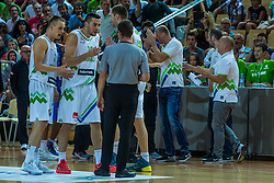 Mitja Nikolic, Klemen Prepelic of Slovenia during friendly basketball match between National teams of Slovenia and Italy at day 3 of Adecco Cup 2015, on August 23 in Koper, Slovenia. Photo by Grega Valancic / Sportida