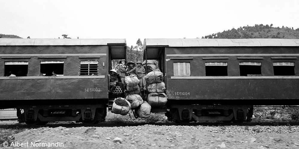 Over loaded baskets on train