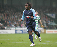 Photo: Lee Earle.<br /> Yeovil Town v Swansea City. Coca Cola League 1. 27/10/2007. Swansea's Jason Scotland celebrates after scoring their opening goal.