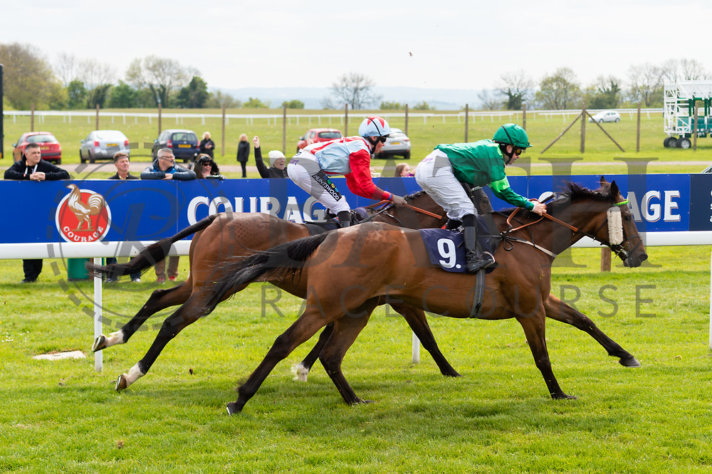 General Brook ridden by William Cox and trained by John O'Shea in the Empire Fighting Chance Handicap race. Cougar Kid ridden by Jane Elliott and trained by John O'Shea in the Empire Fighting Chance Handicap race.  - Ryan Hiscott/JMP - 06/05/2019 - PR - Bath Racecourse- Bath, England - Kids Takeover Day - Monday 6th April 2019