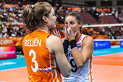 15-10-2018 JPN: World Championship Volleyball Women day 16, Nagoya<br /> Netherlands - USA 3-2 / Yvon Belien #3 of Netherlands, Myrthe Schoot #9 of Netherlands