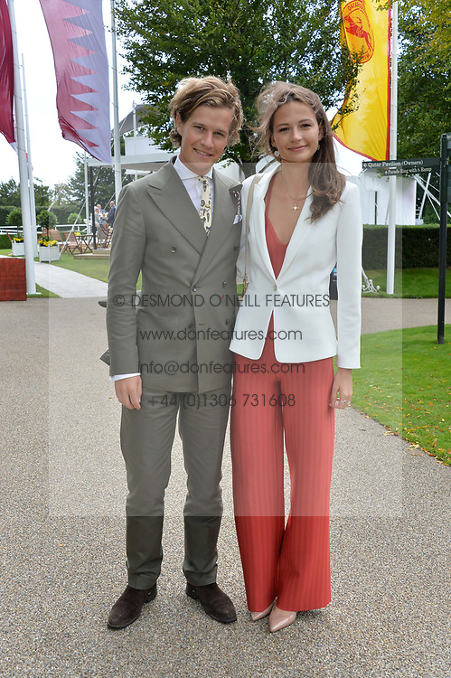 Lord Settrington and Eleanor Lambert at the Qatar Goodwood Festival, Goodwood, West Sussex England. 3 August 2017.<br /> Photo by Dominic O'Neill/SilverHub 0203 174 1069 sales@silverhubmedia.com