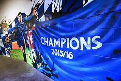 5 February 2017 - Premier League - Leicester City v Manchester United - A mural depicting Jamie Vardy of Leicester City on a wall inside King Power Stadium - Photo: Marc Atkins / Offside.