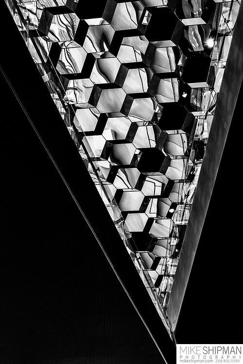 Ceiling architecture of Harpa Concert Hall, Reykjavik, Iceland