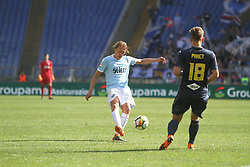 April 22, 2018 - Rome, Lazio, Italy - SS Lazio player Lucas LLeiva try to shoot.With two goal per time SS Lazio beat Sampdoria 4-0 (32'  Sergej Milinkovic, 43'  Stefan De Vrij, 85' Ciro Immobile, 88 Ciro Immobile) and make a step ahead for the fight for third place in Italian Serie A (Credit Image: © Paolo Pizzi/Pacific Press via ZUMA Wire)