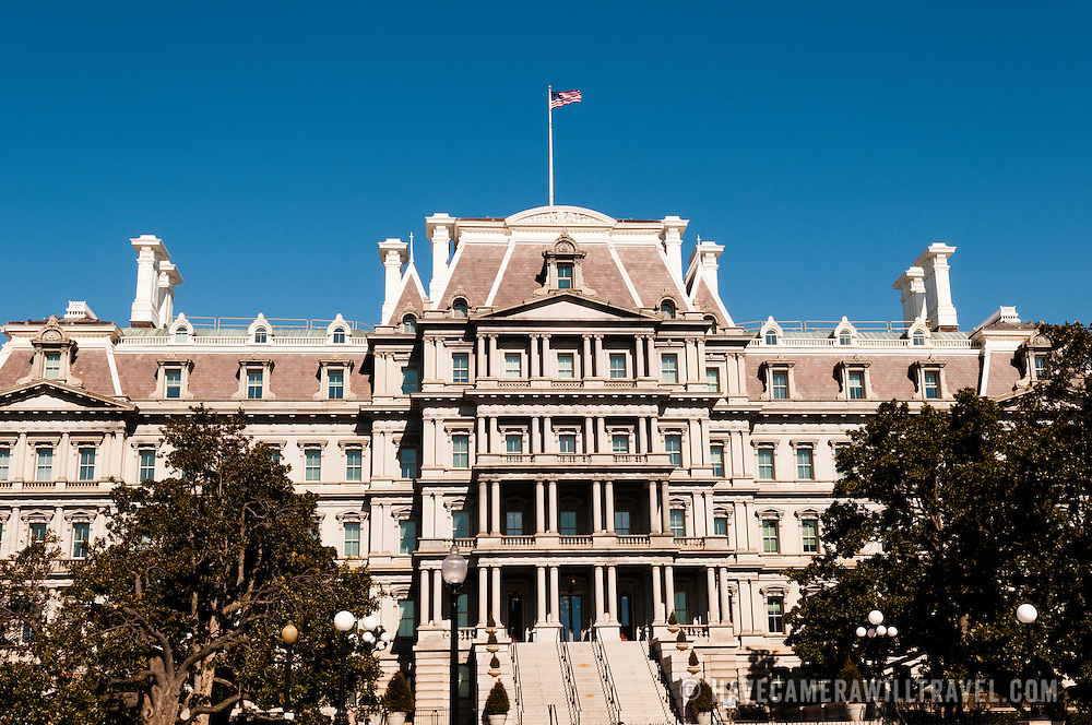 The Eisenhower Executive Office Building (also known as the Old Executive Office Building) next to the White House in downtown Washington DC. The building provides office space for many White House staffers and other government workers.