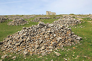 Building ruins of Acinipo Roman archaeological site, Ronda la Vieja, Cadiz province, Spain
