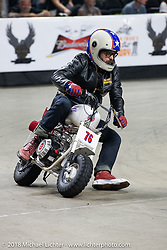 Tattoo artist and television personality Oliver Peck Minibike racing at the Flat Out Friday flat track racing on the Dr. Pepper-covered track in the UW-Milwaukee Panther Arena during the Harley-Davidson 115th Anniversary Celebration event. Milwaukee, WI. USA. Friday August 31, 2018. Photography ©2018 Michael Lichter.
