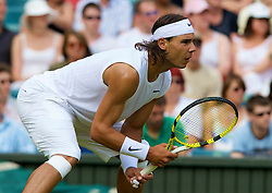 LONDON, ENGLAND - Tuesday, June 24, 2008: Rafael Nadal (ESP) during his first round match on day two of the Wimbledon Lawn Tennis Championships at the All England Lawn Tennis and Croquet Club. (Photo by David Rawcliffe/Propaganda)