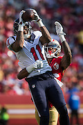 San Francisco 49ers cornerback Dontae Johnson (36) gets his hands on Houston Texans wide receiver Jaelen Strong (11) during a pass at Levi's Stadium in Santa Clara, Calif., on August 14, 2016. (Stan Olszewski/Special to S.F. Examiner)