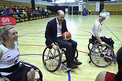 The Duke of Cambridge tries his hand at wheelchair basketball during a SportsAid event at the Copper Box in the Olympic Park, London.