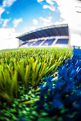An image taken with a fish-eye lens of the the new pitch work on The Falkirk Stadium, for the Scottish Championship game v Morton. The woven GreenFields MX synthetic turf and the surface has been specifically designed for football with 50mm tufts compared with the longer 65mm which has been used for mixed football and rugby uses.  It is fully FFA two star compliant and conforms to rules laid out by the SPL and SFL.<br /> ©Michael Schofield.