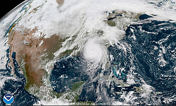 Oct 10, 2018 - Florida, U.S. - From 22,000 miles above the Earth's surface, a weather satellite run by the National Oceanic and Atmospheric Administration captured high-resolution imagery of Hurricane Michael's menacing eye over the Gulf of Mexico Wednesday morning. The latest report from NOAA's National Hurricane Center indicates winds up to 150 mph are associated with the eye of Michael as it moves onshore to Florida's panhandle. Michael is a Category 4 storm and winds would need to increase to 157 mph for it to reach Category 5. (Credit Image: © NOAA via ZUMA Wire)