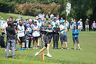 Teddy Sheringham kicks a football onto the 18th green during the Celebrity Pro-Am day at Wentworth Club, Virginia Water, United Kingdom on 23 May 2018. Picture by Phil Duncan.