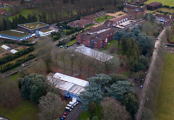 © Licensed to London News Pictures. 11/01/2021. Leatherhead, UK. A tented temporary mortuary facility (lower) has opened in the grounds of the former RAF rehabilitation hospital at Headley Court near Leatherhead in Surrey. Hospital mortuaries are at full capacity as the death rate from the covid-19 pandemic increases.Photo credit: Peter Macdiarmid/LNP