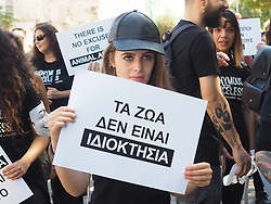 October 6, 2018 - Athens, Attiki, Greece - Animal rights activists demonstrate in Athens against animal abuse, taking part in the Official Animal Rights March. (Credit Image: © George Panagakis/Pacific Press via ZUMA Wire)