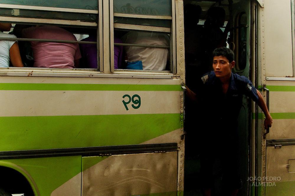People at Yangon's buses