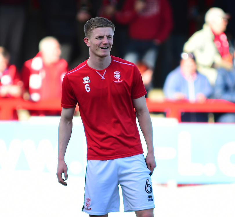 Lincoln City's Scott Wharton during the pre-match warm-up<br /> <br /> Photographer Andrew Vaughan/CameraSport<br /> <br /> The EFL Sky Bet League Two - Crawley Town v Lincoln City - Saturday 17th February 2018 - Broadfield Stadium - Crawley<br /> <br /> World Copyright © 2018 CameraSport. All rights reserved. 43 Linden Ave. Countesthorpe. Leicester. England. LE8 5PG - Tel: +44 (0) 116 277 4147 - admin@camerasport.com - www.camerasport.com