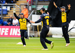 Chris Cooke of Glamorgan celebrates the wicket of Cameron Delport of Essex off the bowling of Graham Wagg<br /> <br /> Photographer Simon King/Replay Images<br /> <br /> Vitality Blast T20 - Round 8 - Glamorgan v Essex - Friday 9th August 2019 - Sophia Gardens - Cardiff<br /> <br /> World Copyright © Replay Images . All rights reserved. info@replayimages.co.uk - http://replayimages.co.uk