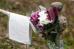 A message with a floral tribute to the is taped to the railings of the bridge across the lock cut to Donkey Island where  Scott Wilkinson, a dedicated pike fisherman, was murdered by teenage brothers Shane Crawt, 19, and Lenny Crawt, 18, on Donkey Island at Walton-On-Thames in Surrey. Walton-On-Thames, Surrey, March 15 2019.