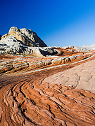 Low-angle view of the rock detail at White Pocket, Paria Plateau, Vermilion Cliffs National Monument, Arizona.
