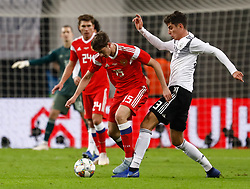 November 15, 2018 - Leipzig, Germany - Kai Havertz (R) of Germany and Alexey Miranchuk (C) of Russia vie for the ball during the international friendly match between Germany and Russia on November 15, 2018 at Red Bull Arena in Leipzig, Germany. (Credit Image: © Mike Kireev/NurPhoto via ZUMA Press)