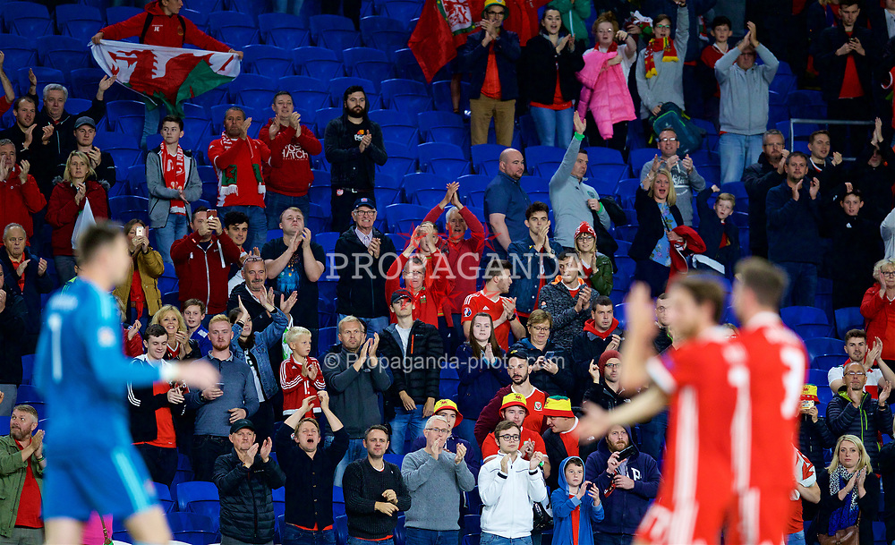 CARDIFF, WALES - Thursday, September 6, 2018: Wales supporters applaud the players after the UEFA Nations League Group Stage League B Group 4 match between Wales and Republic of Ireland at the Cardiff City Stadium. Wales won 4-1. (Pic by David Rawcliffe/Propaganda)