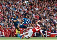 Football - 2018 / 2019 Premier League - Arsenal vs. West Ham United<br /> <br /> Javier Hernandez (West Ham United) and Robert Snodgrass (West Ham United) get in each others way at The Emirates.<br /> <br /> COLORSPORT/DANIEL BEARHAM