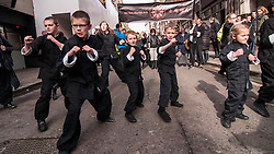 © Licensed to London News Pictures. 22/02/2015. Chinatown, London, UK. Children from the Shi Kon martial arts school perform at the annual Chinese New Year Parade which takes place around Chinatown to celebrate the Year of the Sheep. Photo credit : Stephen Chung/LNP