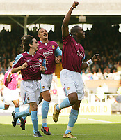 Photo: Frances Leader.<br />Fulham v West Ham. The Barlcays Premiership.<br />17/09/2005.<br />West Ham's Marlon Harewood celebrates his second goal against Fulham.