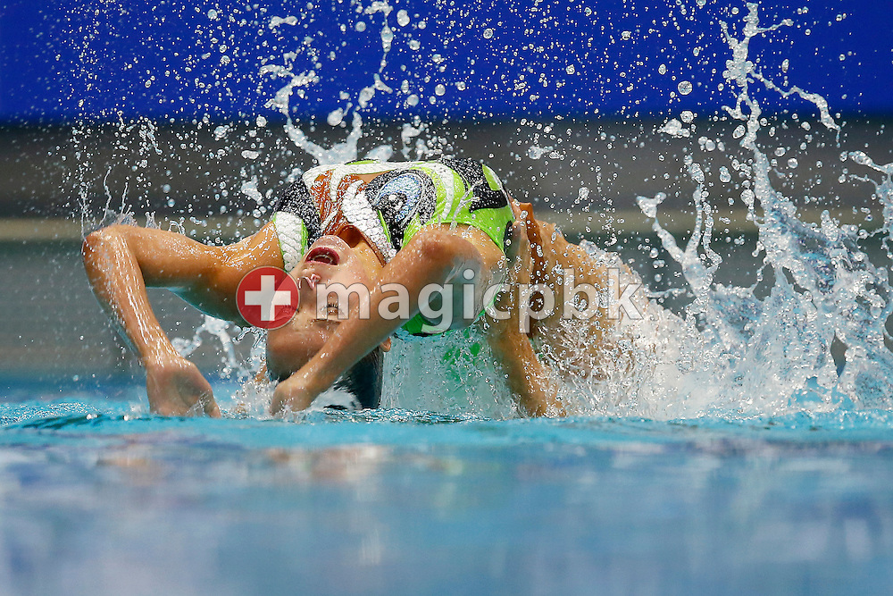 Sascia KRAUS (top) and Sophie GIGER of Switzerland perform during the Women's Duet Free Synchronized (synchronised) Swimming Final during the LEN European Swimming Championships at Europa-Sportpark in Berlin, Germany, Saturday, Aug. 16, 2014. (Photo by Patrick B. Kraemer / MAGICPBK)