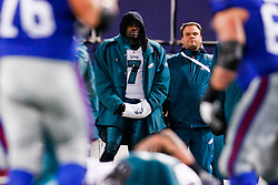 Philadelphia Eagles quarterback Michael Vick #7 watches the game from the sidelines during the NFL game between the Philadelphia Eagles and the New York Giants on December 13th 2009. The Eagles won 45-38 at Giants Stadium in East Rutherford, New Jersey. (Photo By Brian Garfinkel)