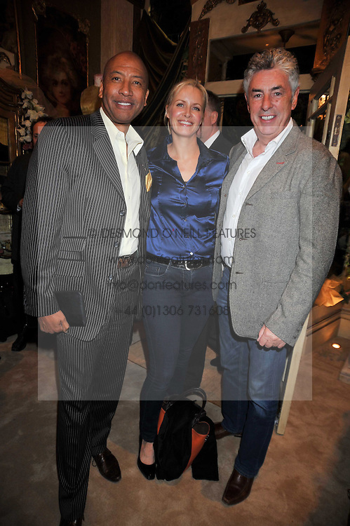 Left to right, JOHNNY EKPERIGIN and BRENDAN & KAREN DONOGHUE at the opening party for the new Gail Berry emporium at 187 New Kings Road, London SW6 on 30th September 2009.<br /> <br /> <br /> <br /> BYLINE MUST READ: donfeatures.com<br /> <br /> *THIS IMAGE IS STRICTLY FOR PAPER, MAGAZINE AND TV USE ONLY - NO WEB ALLOWED USAGE UNLESS PREVIOUSLY AGREED. PLEASE TELEPHONE 07092 235465 FOR THE UK OFFICE.*
